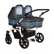 Pj Baby - Carucior gemeni Pj Stroller 2 in 1 Blue