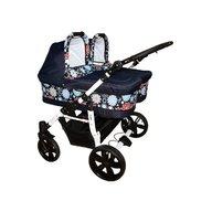 Pj Baby - Carucior gemeni Pj Stroller 2in1, Flowers