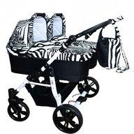 Pj Baby - Carucior gemeni Pj Stroller 2in1, Zebra