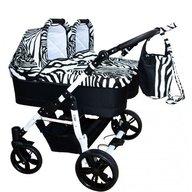 Pj Baby - Carucior gemeni Pj Stroller 3in1, Zebra