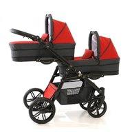 Pj Baby - Carucior gemeni Pj Stroller Lux 3in1, Red