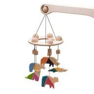 Mobbli - Carusel patut bebelusi Mobile, cu 5 jucarii colorate animale 2, lemn,