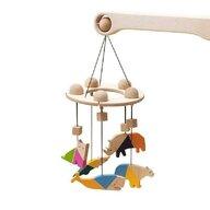Mobbli - Carusel patut bebelusi Mobile, cu 5 jucarii colorate animale, lemn,