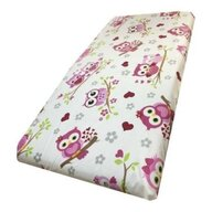 Deseda - Cearsaf cu elastic pe colt cu imprimeu Bufnite indragostite roz-140*70 cm
