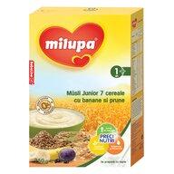 Milupa - Cereale fara lapte, Musli Jr 7 cereale cu banane si prune, 250g, 12luni+