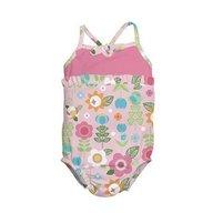 Iplay - Costum de baie fetita cu scutec inot integrat, 12 luni, SPF50+, Pink Flowers