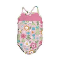 Iplay - Costum de baie fetita cu scutec inot integrat, 18 luni, SPF50+, Pink Flowers