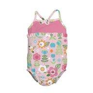 Iplay - Costum de baie fetita cu scutec inot integrat, 24 luni, SPF50+, Pink Flowers