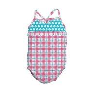 Iplay - Costum de baie fetita cu scutec inot integrat, 12 luni, SPF50+, Pink Squares