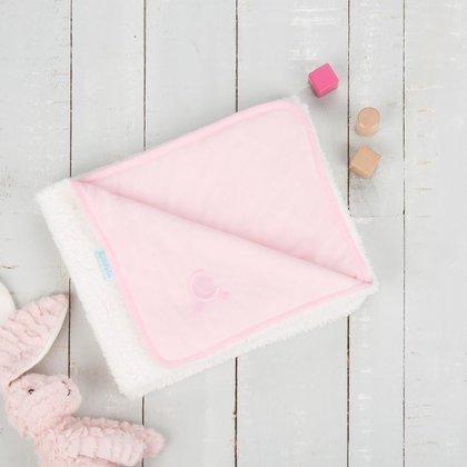 CuddleCo. - Paturica reversibila din tricot/fleece 90x70 cm Comfi Love Pink