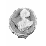 Deseda - Cuib baby nest bebelusi cu volanase  paturica si pernuta Gri cu buline albe LUX