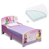 Delta Children Set pat cu cadru din lemn Disney Princess Friendship si saltea pentru patut Dreamily - 140 x 70 x 10 cm