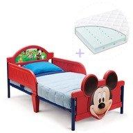 Delta Children Set pat cu cadru metalic Disney Mickey Mouse 3D si saltea pentru patut Dreamily - 140 x 70 x 10 cm