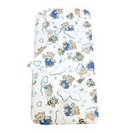 Deseda - Set 3 piese lenjerie din finet pat 120x60 cm Ursi cu albine albastru