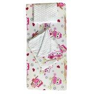 Deseda - Set 3 piese de iarna paturica cu cearsaf si pernuta pentru pat 120x60 cm, Bufnite roz