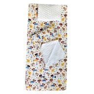 Deseda - Set 3 piese de iarna paturica cu cearsaf si pernuta pentru pat 120x60 cm, Catelusi pe alb