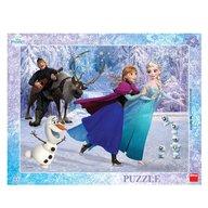 Dino Toys - Puzzle cu rama Anna si Elsa la patinoar 40 piese