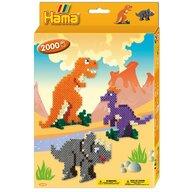 Hama - Set margele de calcat Dinozauri 2000 buc, In cutie cu agatator Midi