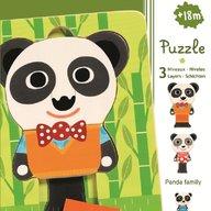 Djeco Puzzle straturi familia de panda