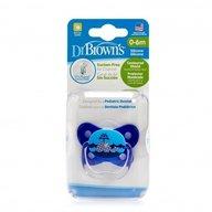 Dr. Brown's - Suzeta PreVent din silicon, cu capac, Design Fluture (BPA Free)0-6 luni, Albastra