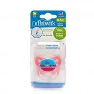 Dr. Brown's - Suzeta PreVent din silicon, cu capac, Design Fluture (BPA Free)0-6 luni, Roz