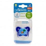 Dr. Brown's - Suzeta PreVent din silicon, cu capac, Design Fluture (BPA Free) 12 luni+, Albastra