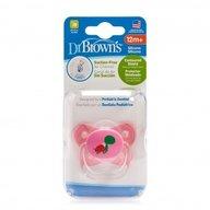 Dr. Brown's - Suzeta PreVent din silicon, cu capac, Design Fluture (BPA Free) 12 luni+, Roz