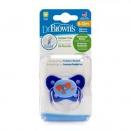 Dr. Brown's - Suzeta PreVent din silicon, cu capac, Design Fluture (BPA Free) 6-12 luni, Albastra