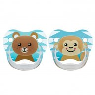 Dr. Brown's - Suzeta PreVent, imprimata Animal Face , 2pack, nivel 2(6-12 luni), baieti