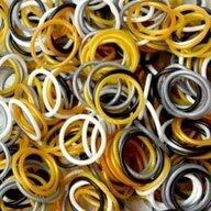 Rainbow Loom - Elastice Metalic 300 buc, Maro/Gri