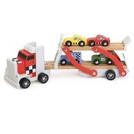 Eurekakids - Camion cu platforma din lemn ce transporta masinute