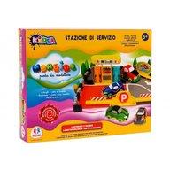 Globo KiDEA Set tematic plastilina cu forme Parcare cu benzinarie masini