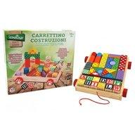 Globo Legnoland - Carucior cuburi lemn pentru copii multicolore 35 piese