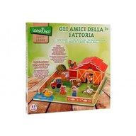 Globo Legnoland Ferma din lemn cu 10 animale Globo tip puzzle