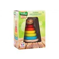Globo Legnoland - Joc de stivuit din lemn pentru bebelusi turn cu cercuri colorate