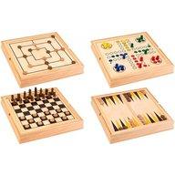Globo Set 5 in 1 jocuri de societate in cutie lemn Globo 37804 Sah Table Dame