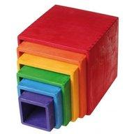 GRIMM'S Spiel und Holz Design - Set mare de cutii colorate curcubeu