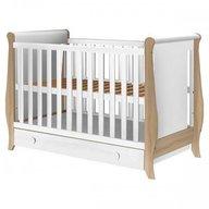 Hubners Patut copii din lemn Mira 120x60 cm alb-natur cu sertar