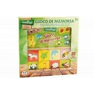 Globo Legnoland - Joc educational din lemn, 32 piese, pentru asociere tip memo, imagini animale
