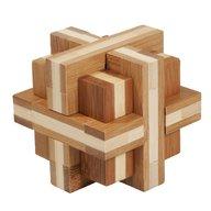 Fridolin - Joc logic IQ din lemn bambus Double cross