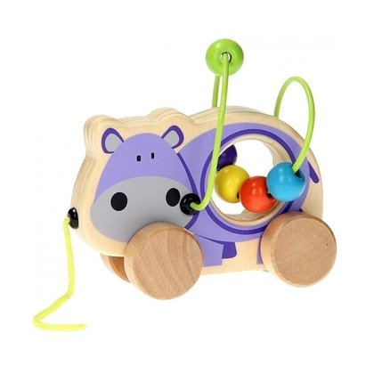Joueco - Jucarie din lemn pentru motricitate Hipopotam