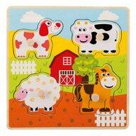Joueco - Puzzle din lemn 4 piese, Animale de la ferma