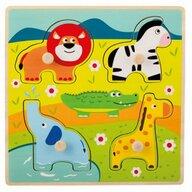 Joueco - Puzzle din lemn 4 piese, Animale salbatice