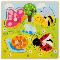 Joueco - Puzzle din lemn 4 piese, Insecte