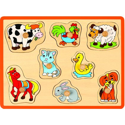 Joueco - Puzzle din lemn Animale domestice