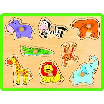 Joueco - Puzzle din lemn Animale salbatice