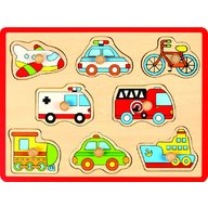 Joueco - Puzzle din lemn Mijloace de transport