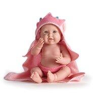 Jucarie bebelus fetita cu prosop de baie cu gluga
