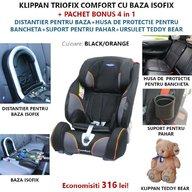 Klippan - Scaun auto Triofix Comfort, set 5 in 1, 9-36 Kg, Black/Orange