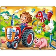 Larsen - Puzzle Copil la Ferma pe Tractor 15 Piese
